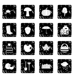 Autumn set icons grunge style vector