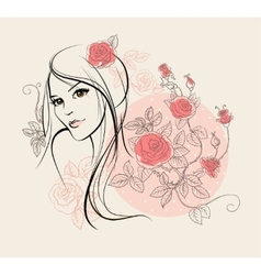 Beautiful girl with roses vector image
