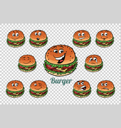burger fast food emotions characters collection vector image vector image