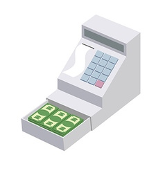 Cashier open a cash register with a lot of dollars vector