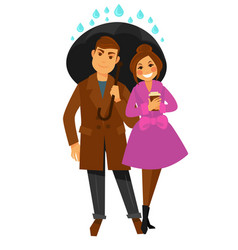 couple walks under umbrella covers from rain drops vector image vector image