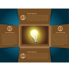 Creative Template idea light bulb glowing in box vector image vector image