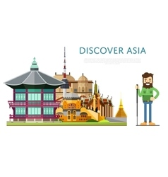 Discover Asia banner with famous attractions vector image