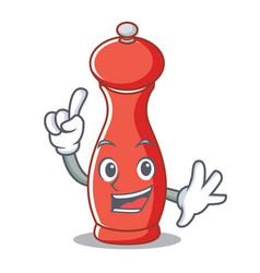 Finger pepper mill character cartoon vector