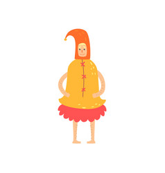 Freak man character in funny bell costume freaky vector