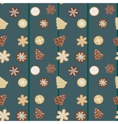 Gingerbread Christmas cookies seamless pattern vector image vector image