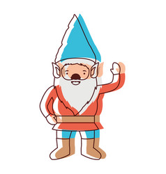 gnome with costume and gesture of greeting in vector image
