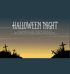 Greeting card halloween night background vector