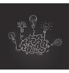 Hand drawn brain with different bulbs vector