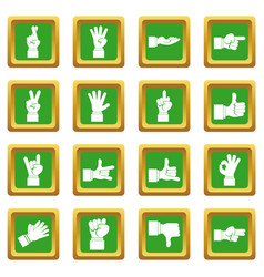 Hand gesture icons set green vector