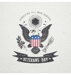 Happy veterans day detailed elements old retro vector
