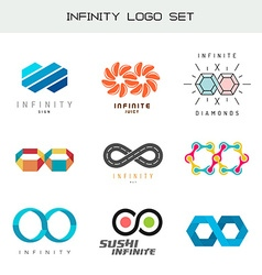 Infinity logo set Infinity color symbols Infiniti vector image