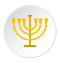 Jewish menorah with candles icon circle vector