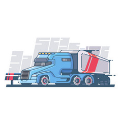 Large truck with long trailer vector