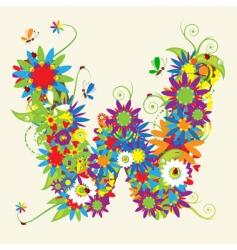 letter W floral design vector image vector image