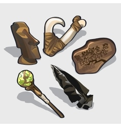 Magical elements idol ancient calendar vector