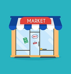 Market shop facade of market building Idea vector image