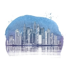 Modern City Buildings and Skyscraper Urban vector image