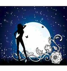 moon girl vector image