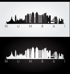 Mumbai skyline and landmarks silhouette vector
