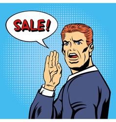 Pop art style sale poster vintage man shouts sale vector