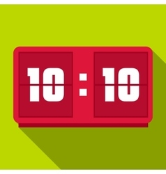Red digital clock icon flat style vector
