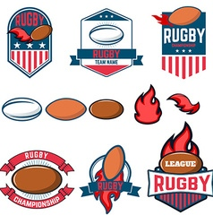 Rugby league Rugby labels emblems and design vector image