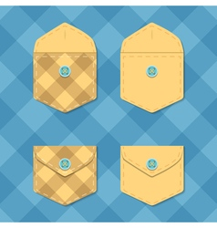 Set of opened and closed pockets checkered vector