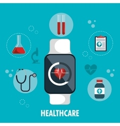 Smart watch digital healthcare service app vector