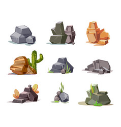 Stones and nature rock set with cartoon green vector