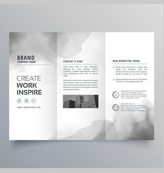Trifold brochure with black ink stain design vector