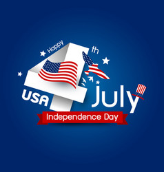 Usa 4 july happy independence day design vector