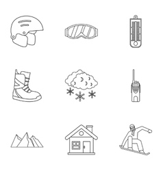 Vacation in mountains icons set outline style vector
