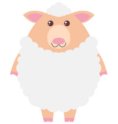 white sheep on white background vector image vector image