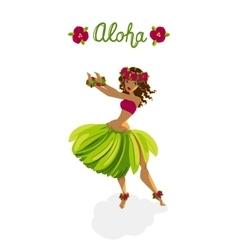 Beautiful girl - hula dancer vector image