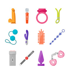 Cartoon sex toys set vector
