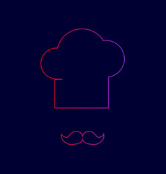 Chef hat and moustache sign  line icon vector