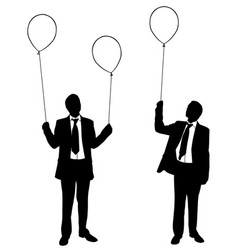 businessmen holding balloons vector image