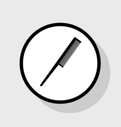 Comb sign  flat black icon in white circle vector