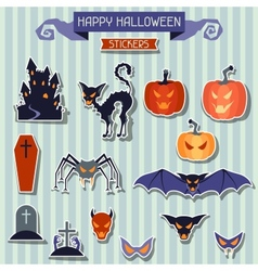 Happy halloween stickers set for design vector
