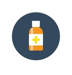 Flat medical syrup bottle icon vector
