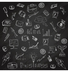Business strategy icons blackboard chalk sketch vector image
