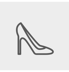 Lady high heel shoe thin line icon vector