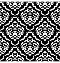 Foliage damask seamless pattern with leaf scrolls vector