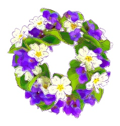 Wreath of woodland violets and primula vector