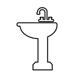 Bathroom sink line icon vector