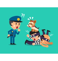 Cartoon cute dog helping policeman to catch vector