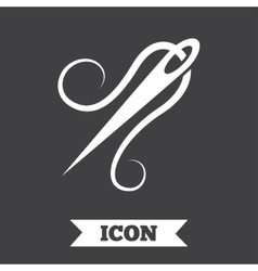 Needle with thread icon tailor sign vector