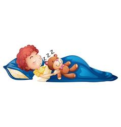 A young boy sleeping vector image vector image