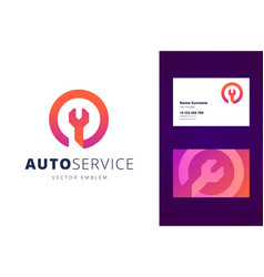 Auto car service logo and business card template vector